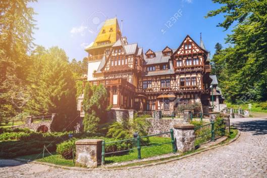 Pelisor castle, Sinaia, Romania. View of famous Pelisor castle s